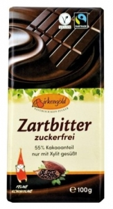 Birkengold - Ciocolata neagra indulcita doar cu xylitol 55% cacao, 100g