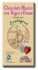 Ciocolata alba BIO cu iaurt si capsuni, Chocolates Sole, 100 g