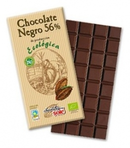 Ciocolata neagra BIO 56% cacao , Chocolates Sole, 100 g