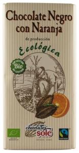 Ciocolata neagra BIO si Fairtrade cu portocale, 56% cacao, Chocolates Sole 100 gr