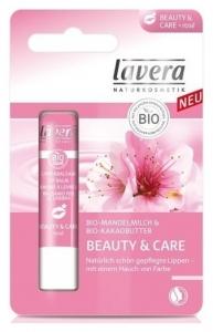 Balsam de buze roze pentru ingrijire si frumusete cu lapte de migdale si unt de cacao 4,5g