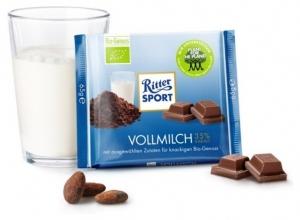 RITTER SPORT–Ciocolata BIO cu lapte, 35% cacao, 65 g