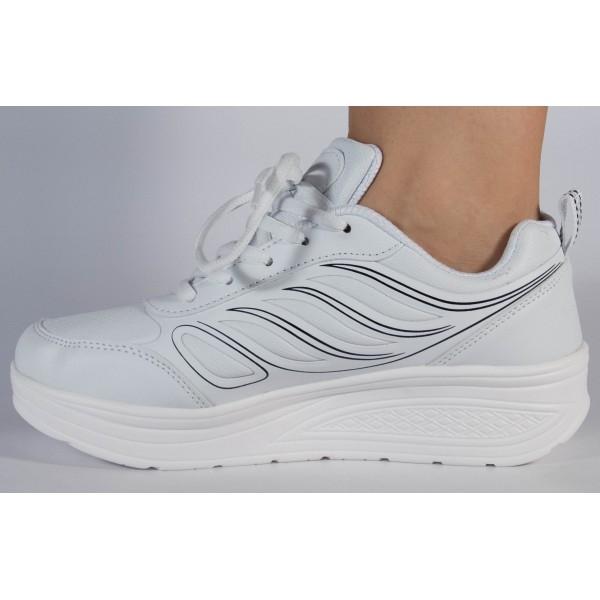 Adidasi albi cu talpa convexa 2