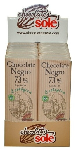 Mini tableta ciocolata neagra BIO 73% cacao Chocolates Sole, 25 g