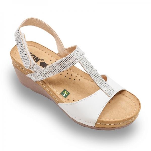 Sandale confortabile Leon 1061 Alb-silver 0